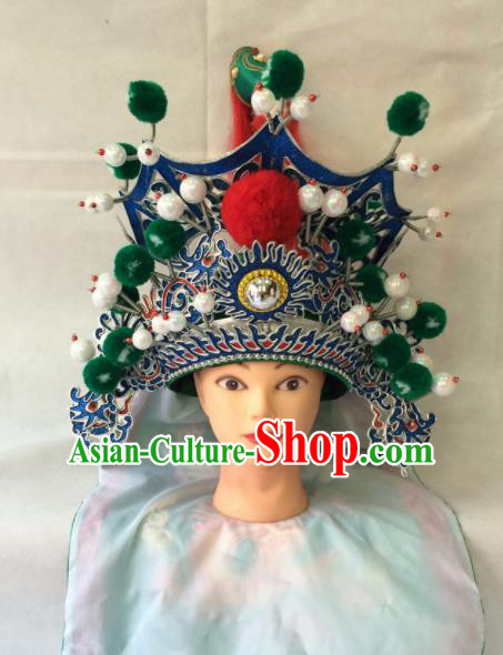 Asian Chinese Traditional Beijing Opera Takefu Headwear Ancient General Green Helmet Hat for Men