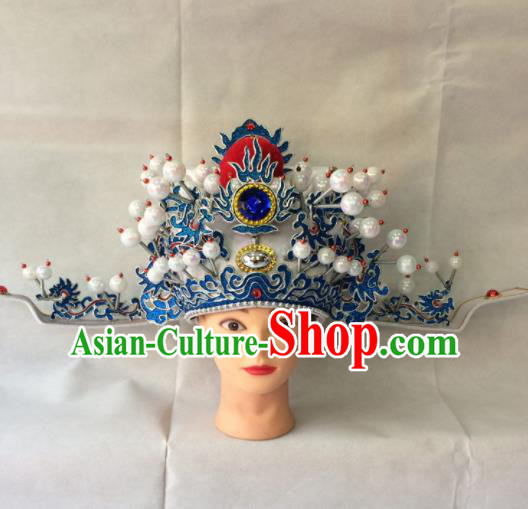 Asian Chinese Traditional Beijing Opera Old Men Headwear Ancient Prime Minister Helmet Hat for Men