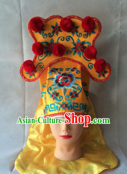 Asian Chinese Traditional Beijing Opera Takefu Headwear Ancient Warrior Golden Hat for Men