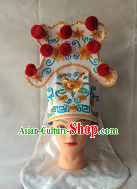 Asian Chinese Traditional Beijing Opera Takefu Headwear Ancient Warrior White Hat for Men