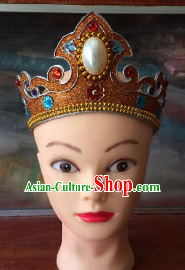 Asian Chinese Traditional Beijing Opera Takefu Headwear Ancient Prince Golden Head Crown for Men
