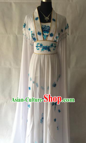 Traditional Chinese Beijing Opera Princess Costume Ancient Peri White Dress for Women