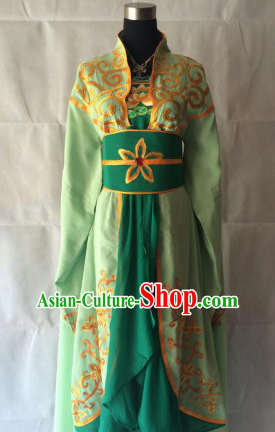Traditional Chinese Beijing Opera Diva Costume Ancient Imperial Concubine Green Dress for Women