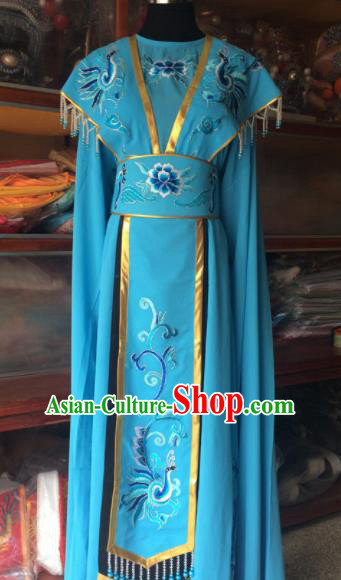 Traditional Chinese Beijing Opera Diva Costume Ancient Peri Princess Blue Dress for Women