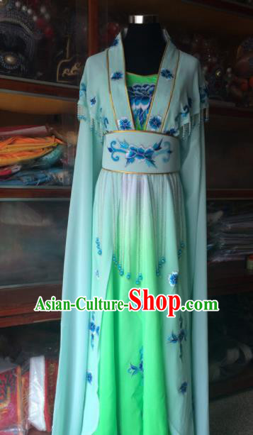 Traditional Chinese Beijing Opera Diva Costume Ancient Peri Princess Green Dress for Women