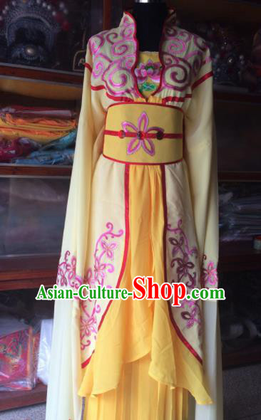 Traditional Chinese Beijing Opera Diva Costume Ancient Peri Princess Yellow Dress for Women