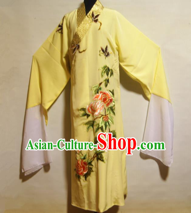 Traditional Chinese Beijing Opera Niche Costume Ancient Scholar Yellow Robe