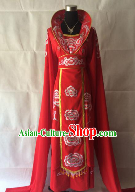 Traditional Chinese Beijing Opera Queen Costume Ancient Peri Red Dress for Women
