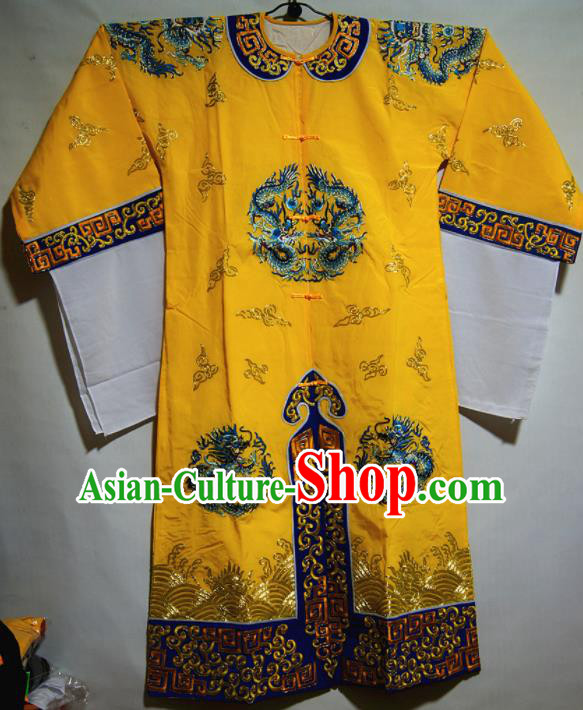 Traditional Chinese Beijing Opera Takefu Costume Ancient Imperial Bodyguard Yellow Clothing