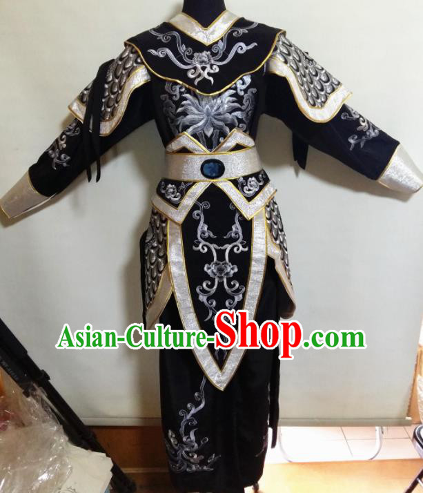 Traditional Chinese Beijing Opera Blues Costume Ancient Warrior Black Clothing for Women