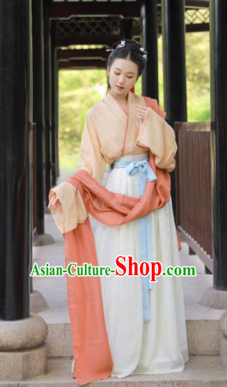 Traditional Chinese Song Dynasty Princess Historical Costume Ancient Palace Lady Hanfu Dress for Women