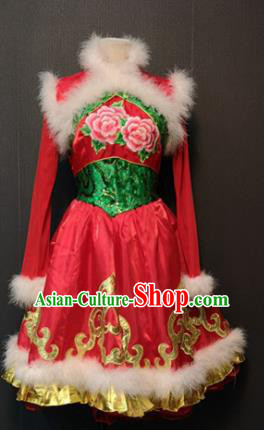 Asian Chinese Traditional Classical Dance Costume Drum Dance Red Dress for Women