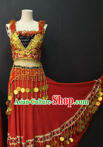 Asian Chinese Traditional Classical Dance Costume Ethnic Folk Dance Red Dress for Women