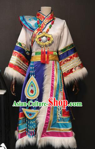 Asian Chinese Traditional Folk Dance Costume Mongolian Ethnic Dance White Dress for Women