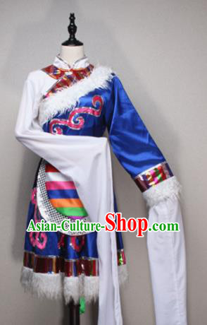 Asian Chinese Traditional Folk Dance Costume Tibetan Nationality Dance Dress for Women