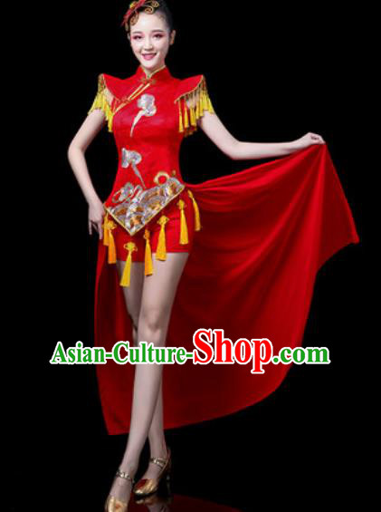 Traditional Chinese Folk Dance Costume Drum Dance Red Clothing for Women