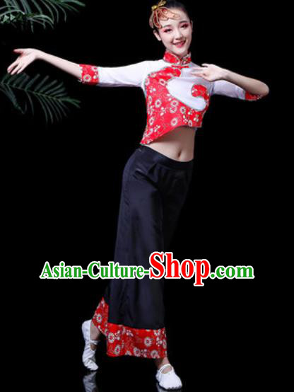 Traditional Chinese Folk Dance Costume Group Dance Yanko Dance Clothing for Women