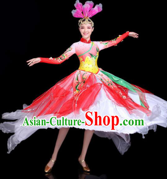 Traditional Chinese Stage Performance Costume Classical Dance Red Dress for Women