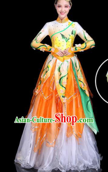 Traditional Chinese Stage Performance Costume Classical Dance Orange Dress for Women