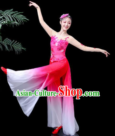 Traditional Chinese Folk Dance Costume Yanko Dance Pink Clothing for Women