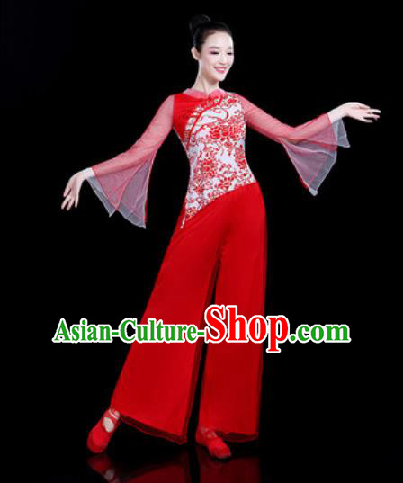 Chinese Traditional Folk Dance Yangko Dance Costume Fan Dance Red Clothing for Women