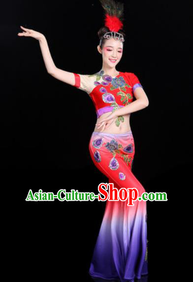 Chinese Traditional Ethnic Peacock Dance Costume Dai Nationality Folk Dance Dress for Women