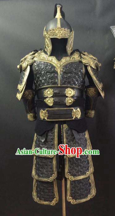 Chinese Ming Dynasty Drama Warrior Costume Ancient General Body Armor and Helmet Complete Set