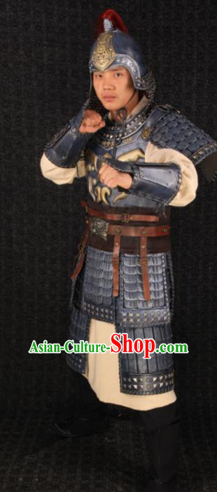 Chinese Song Dynasty Drama Warrior Costume Ancient Soldier Body Armor and Helmet Complete Set