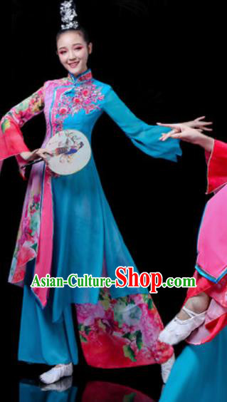 Traditional Chinese Classical Dance Costume Stage Performance Umbrella Dance Deep Blue Dress for Women