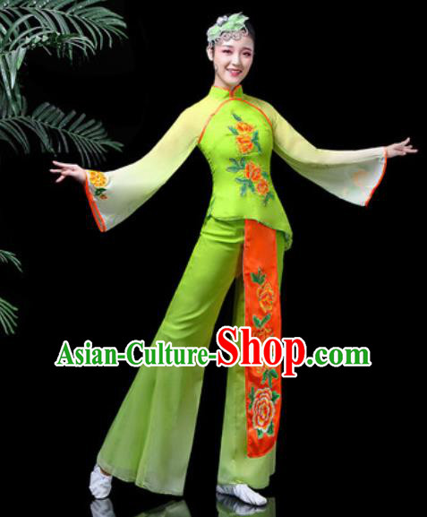 Traditional Chinese Stage Performance Folk Dance Costume Fan Dance Green Clothing for Women