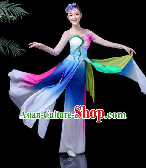 Traditional Chinese Classical Dance Stage Performance Costume Umbrella Dance Blue Dress for Women