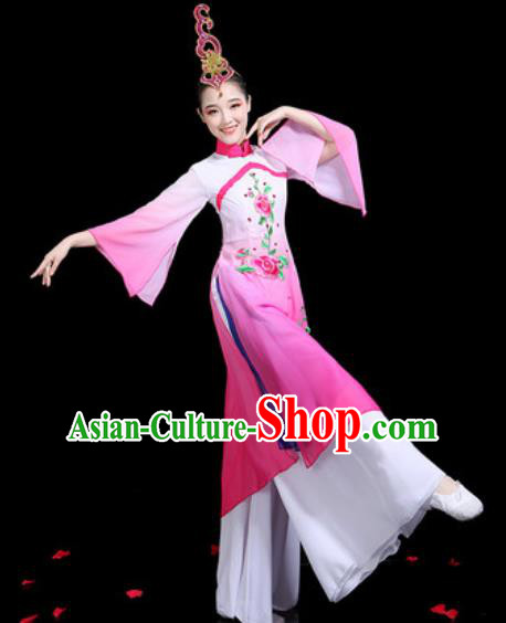 Traditional Chinese Stage Performance Costume Classical Dance Umbrella Dance Pink Dress for Women