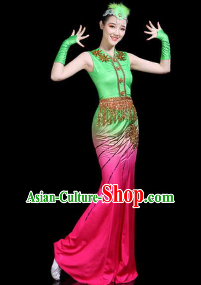 Chinese Traditional Ethnic Pavane Dance Costume Dai Nationality Peacock Dance Rosy Dress for Women