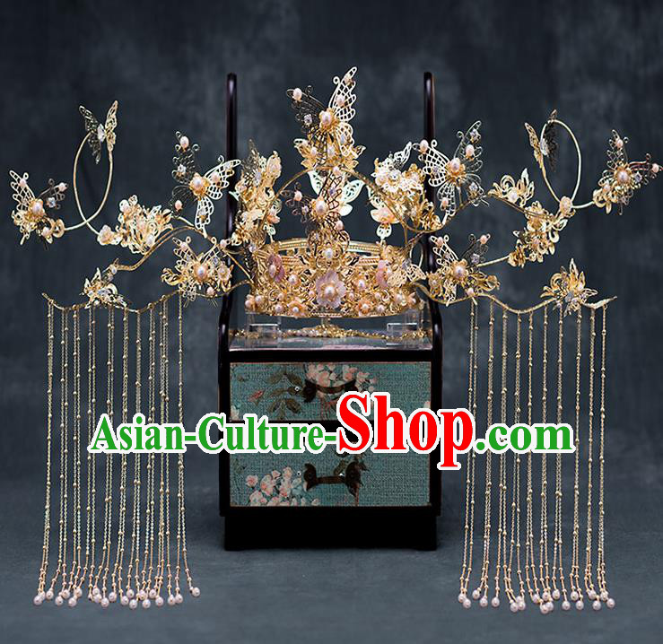 Chinese Ancient Hanfu Wedding Hair Accessories Traditional Golden Butterfly Tassel Phoenix Coronet Hairpins for Women