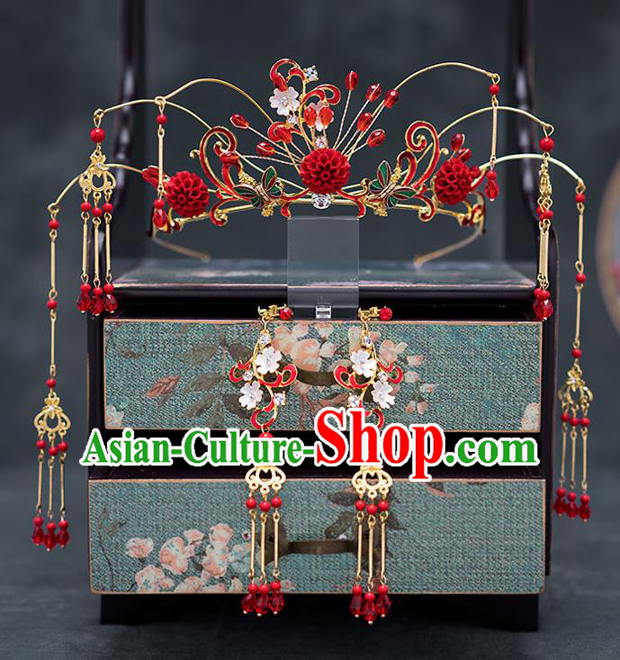 Chinese Ancient Wedding Hair Accessories Traditional Bride Hanfu Tassel Hairpins Red Roses Phoenix Coronet for Women