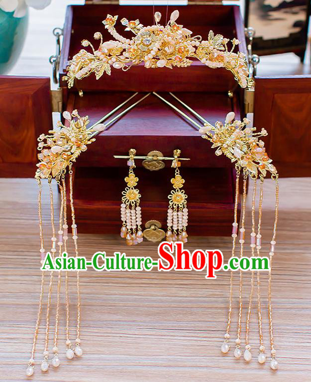 Chinese Ancient Wedding Beads Phoenix Coronet Hair Accessories Traditional Hanfu Tassel Hairpins for Women
