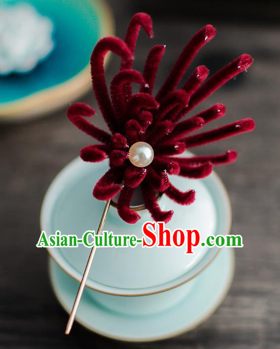Chinese Ancient Queen Hair Accessories Traditional Hanfu Wine Red Chrysanthemum Hairpins for Women