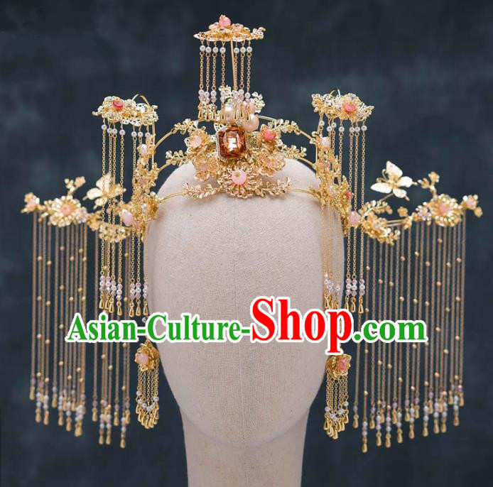 Chinese Ancient Queen Tassel Phoenix Coronet Hair Accessories Traditional Hanfu Hairpins for Women