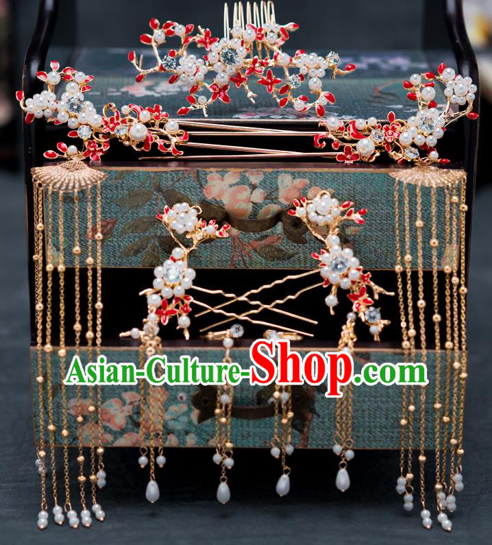 Chinese Ancient Queen Tassel Hair Clips Hair Accessories Traditional Hanfu Hairpins for Women