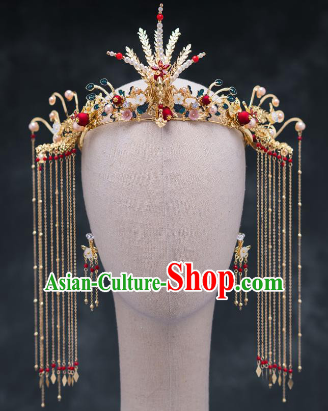Chinese Ancient Bride Hair Accessories Wedding Phoenix Coronet Traditional Hanfu Hairpins for Women