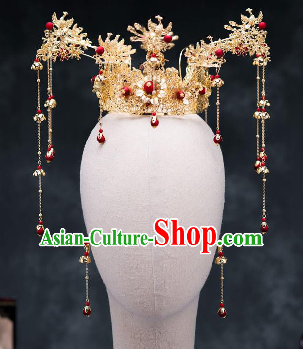 Chinese Ancient Bride Hair Accessories Golden Phoenix Coronet Traditional Hanfu Hairpins for Women