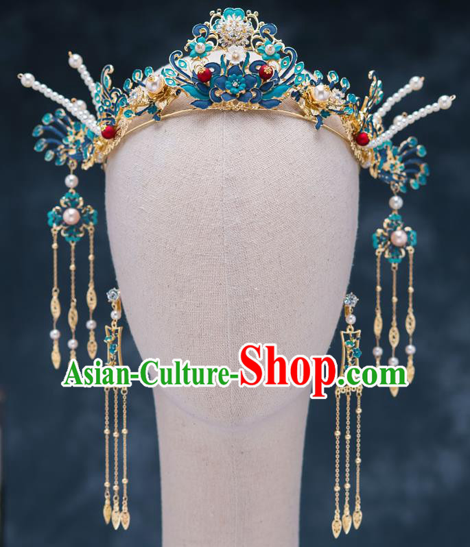 Chinese Ancient Bride Hair Accessories Wedding Blueing Phoenix Coronet Traditional Hanfu Hairpins for Women