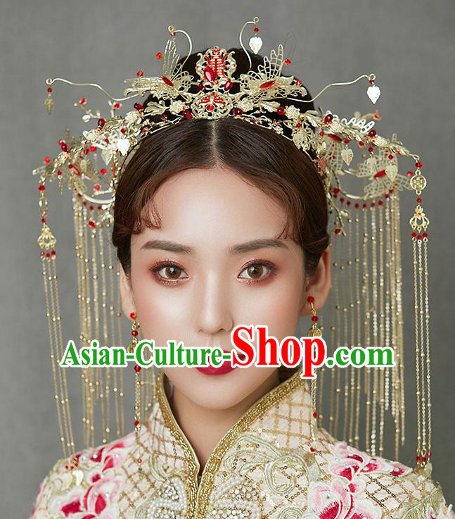 Chinese Ancient Wedding Phoenix Coronet Traditional Bride Palace Hair Accessories for Women