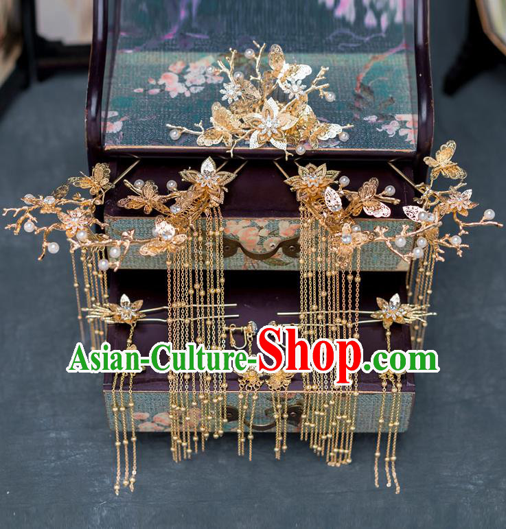 Chinese Ancient Wedding Golden Tassel Hairpins Traditional Bride Palace Hair Accessories for Women