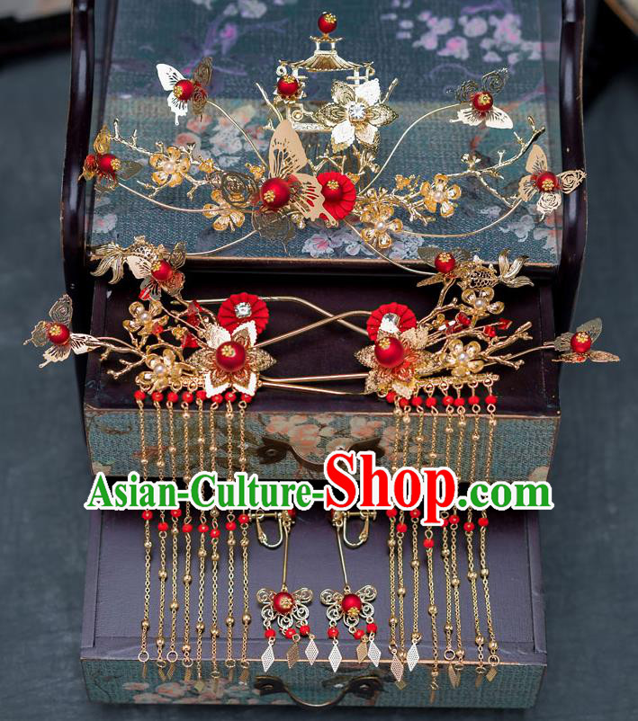 Chinese Ancient Palace Phoenix Coronet Tassel Hairpins Traditional Bride Hair Accessories for Women
