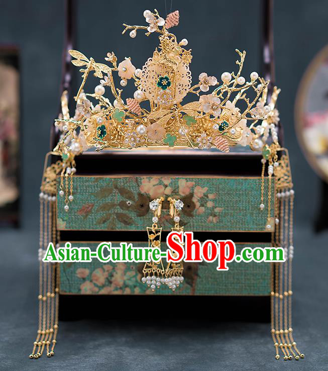 Chinese Ancient Palace Hair Accessories Tassel Hairpins Traditional Bride Jade Phoenix Coronet for Women