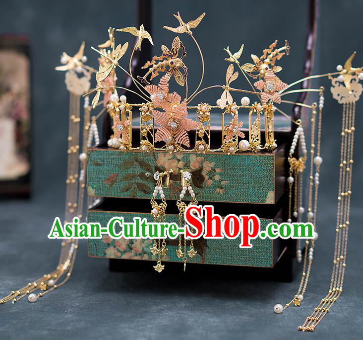 Chinese Ancient Palace Hair Accessories Hairpins Traditional Bride Golden Dragonfly Phoenix Coronet for Women