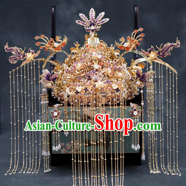Chinese Ancient Palace Hair Accessories Hairpins Traditional Bride Purple Phoenix Coronet for Women