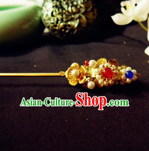 Chinese Ancient Hair Accessories Palace Pearls Golden Hair Clip Traditional Hanfu Classical Hairpins for Women