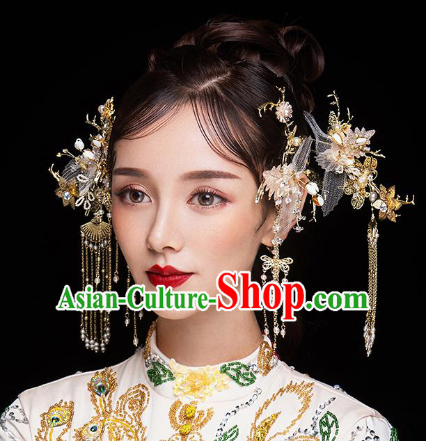 Chinese Ancient Bride Hair Accessories Traditional Wedding Hanfu Pink Silk Hairpins Complete Set for Women